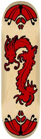 Sticker skateboard Dragon rouge et noir