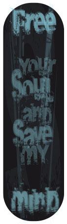 Sticker skateboard Free Your Soul noir