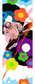 Sticker skateboard DJ